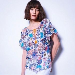 Milly Multicolor Floral Sheer Blouse Size Large